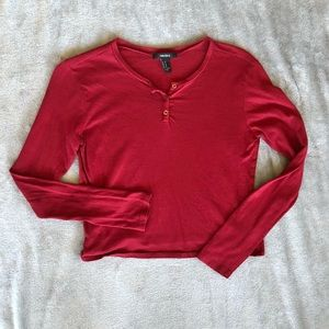 Forever 21 Red Button Henley Crop Top Tee Shirt